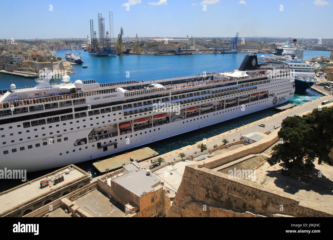 MSC cruise ship in Grand Harbour waterfront, Pinto Wharf ...