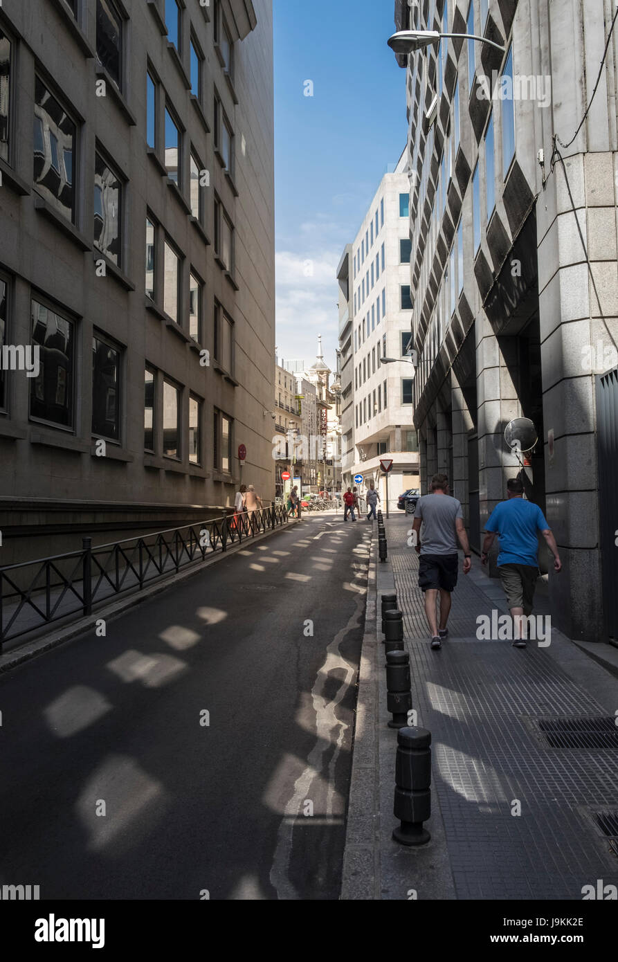 Urban street scene of modern architecture buildings, Madrid, Spain. - Stock Image