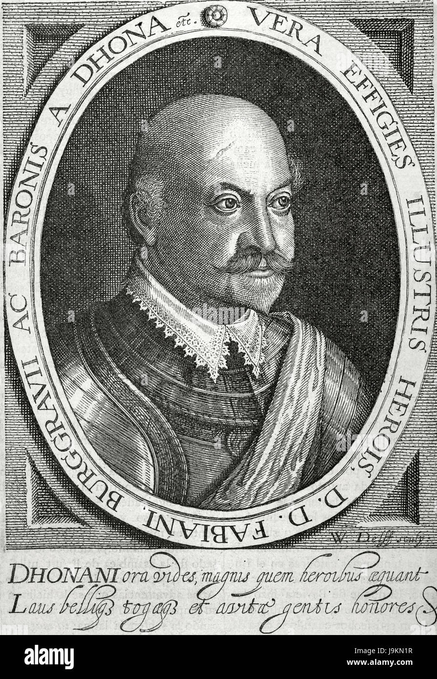 Fabian Dohna (1550-1621). German officer and Burgrave of Dohna. Portrait. Engraving by William Jacobzen Delff (1580 - Stock Image