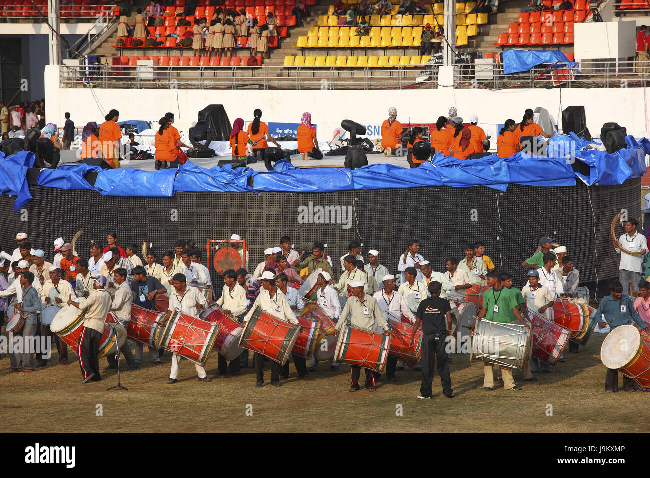 Drummers rehearse inauguration ceremony, pune, maharashtra, India, Asia Stock Photo