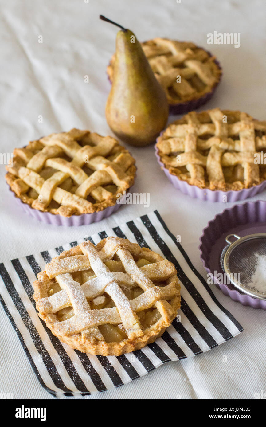 small pear pies - Stock Image