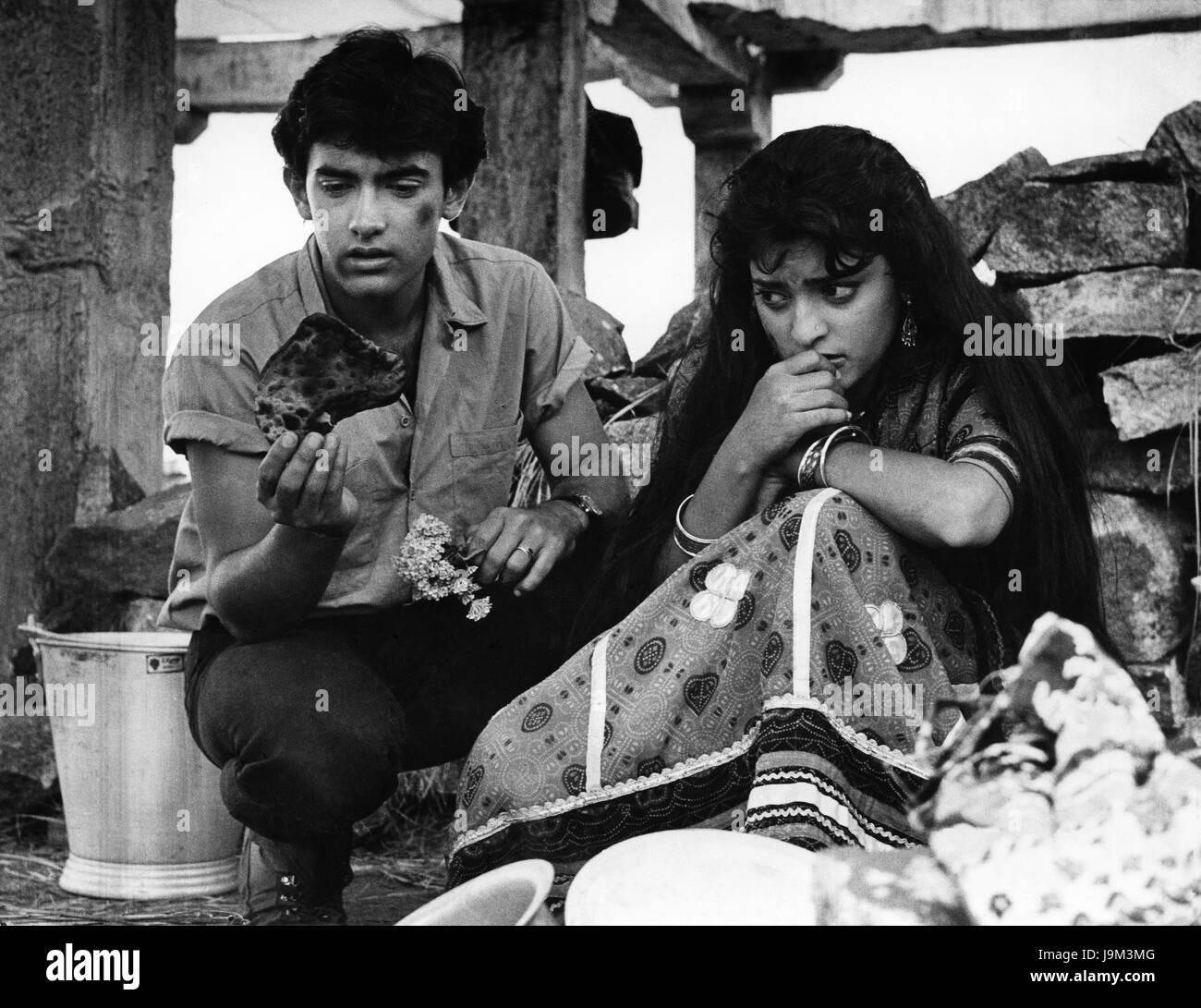Indian hindi films actor and actress, juhi chawla and aamir khan, India, Asian, NOMR - Stock Image