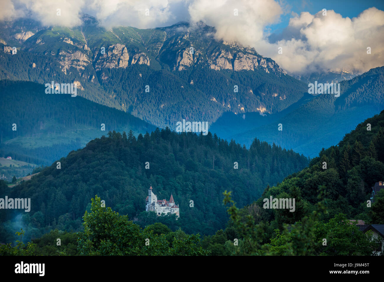 Aerial view of Bran commune in Brasov County of historical region Transylvania, Romania. Bran Castle on photo - Stock Image