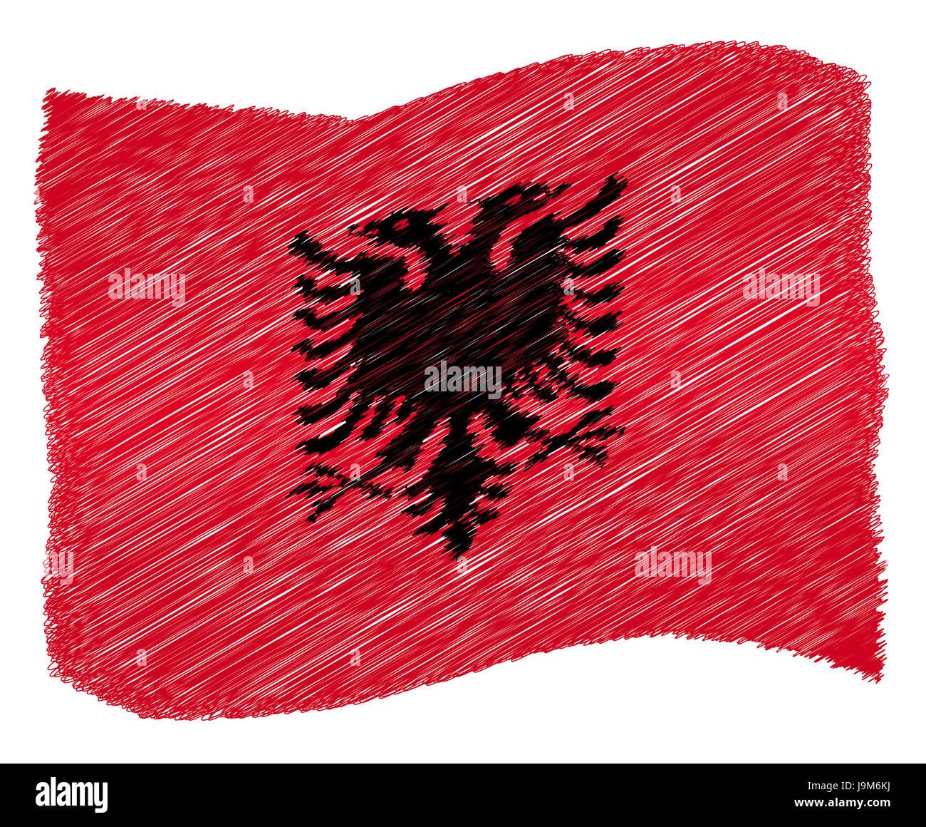 trip, albania, travel, holiday, vacation, holidays, vacations, flag, trip, - Stock Image