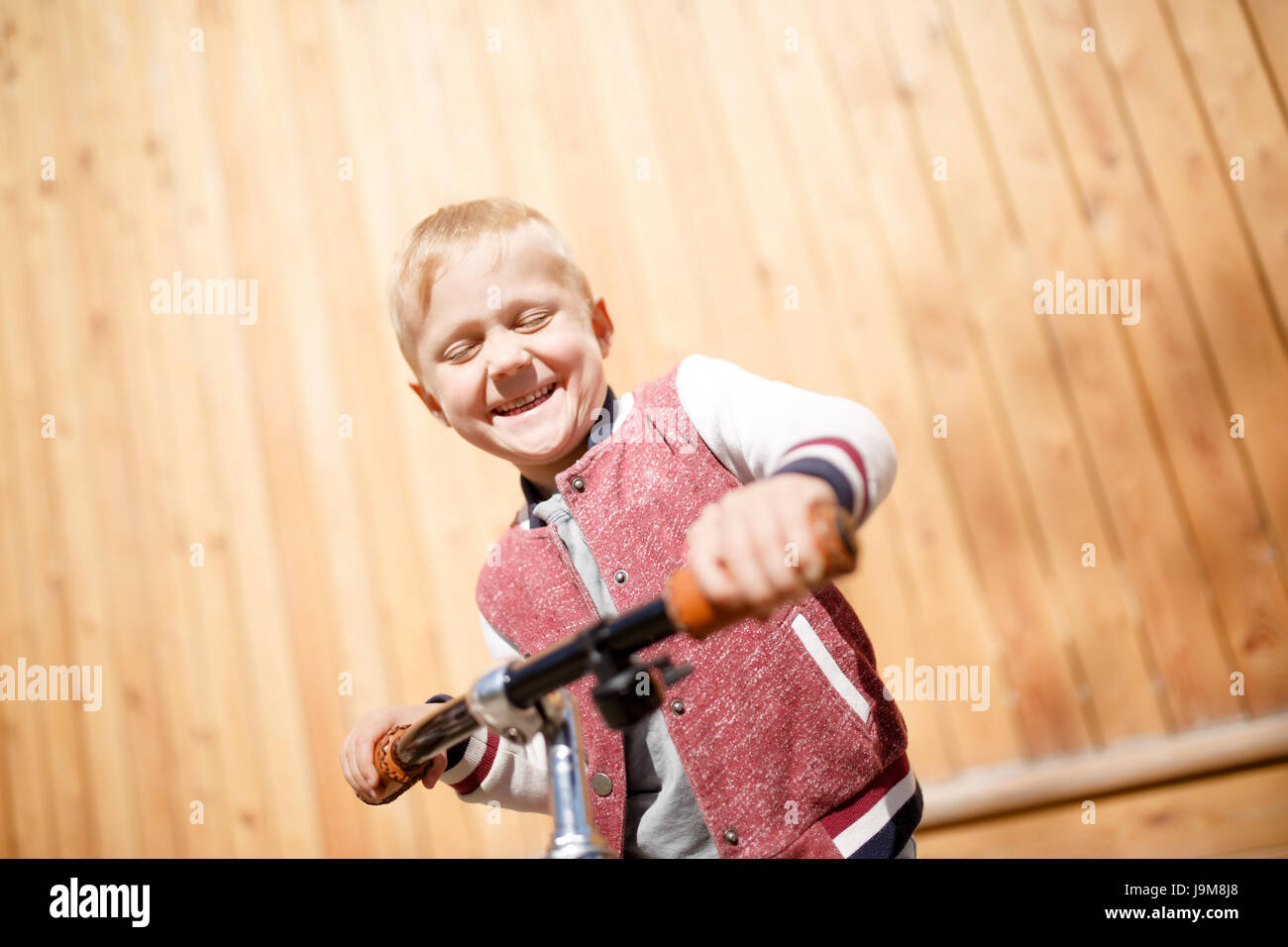 Image of boy with cycle - Stock Image