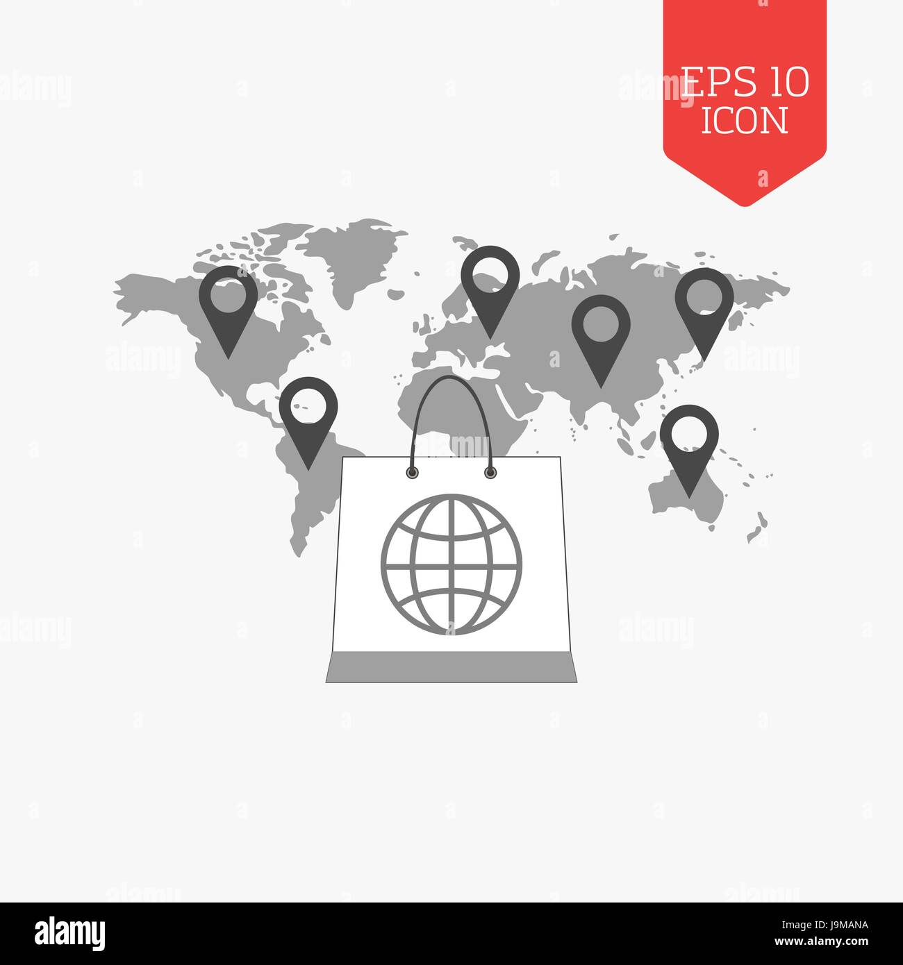 Shopping bag over world map with pointers international sale stock shopping bag over world map with pointers international sale concept flat design gray color symbol modern ui web navigation sign illustration ele gumiabroncs Gallery