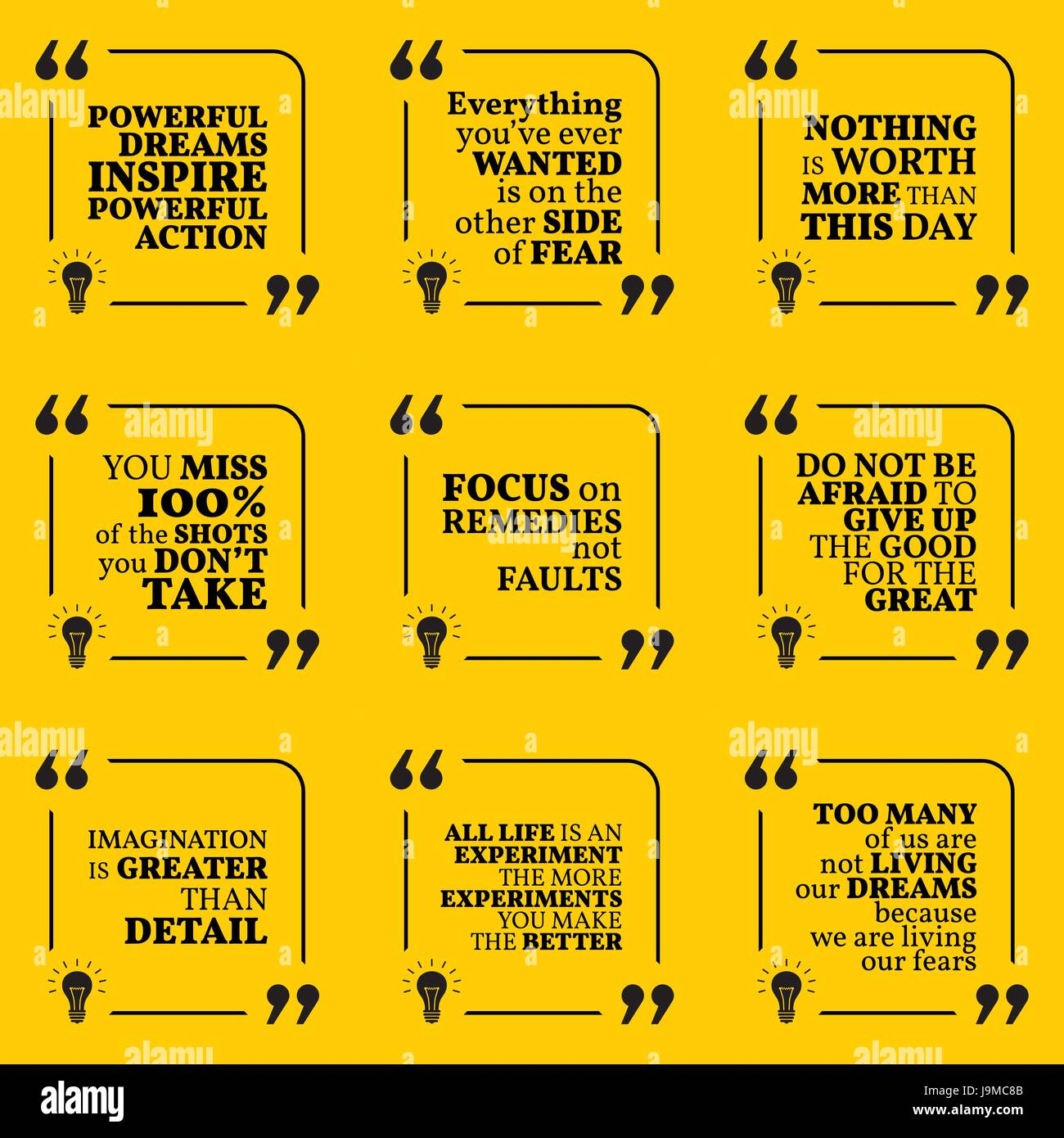 Set Of Motivational Quotes About Action Fear Courage Achievement