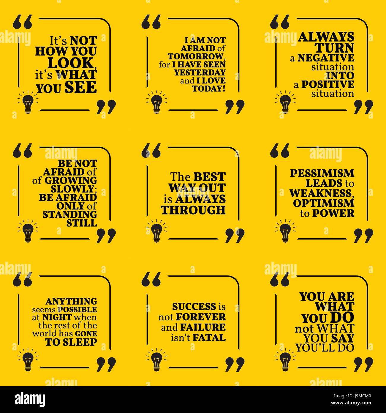 Set Of Motivational Quotes About Positive Thinking Optimism Stock