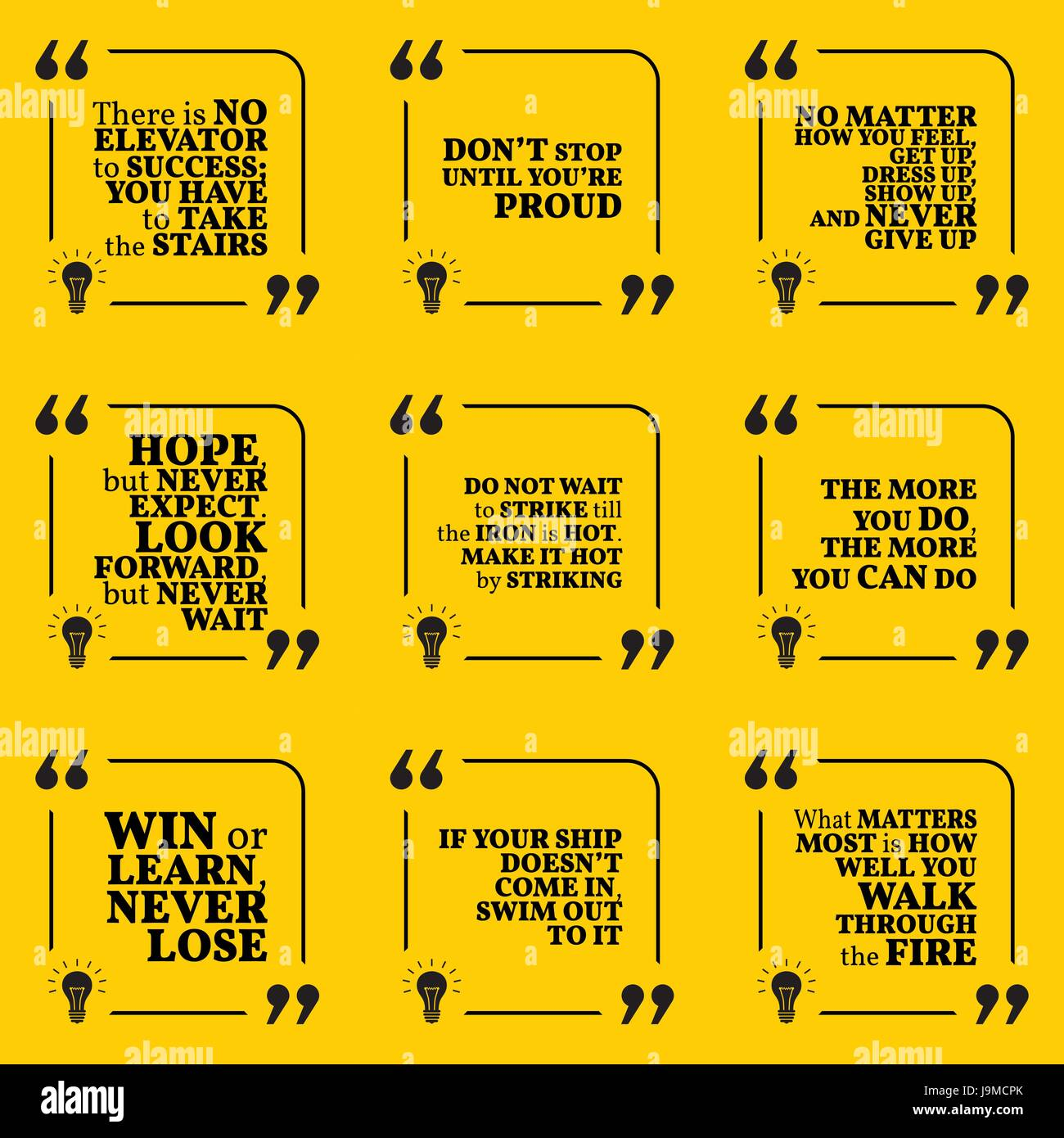 Set Of Motivational Quotes About Hope Action Hard Work Stock
