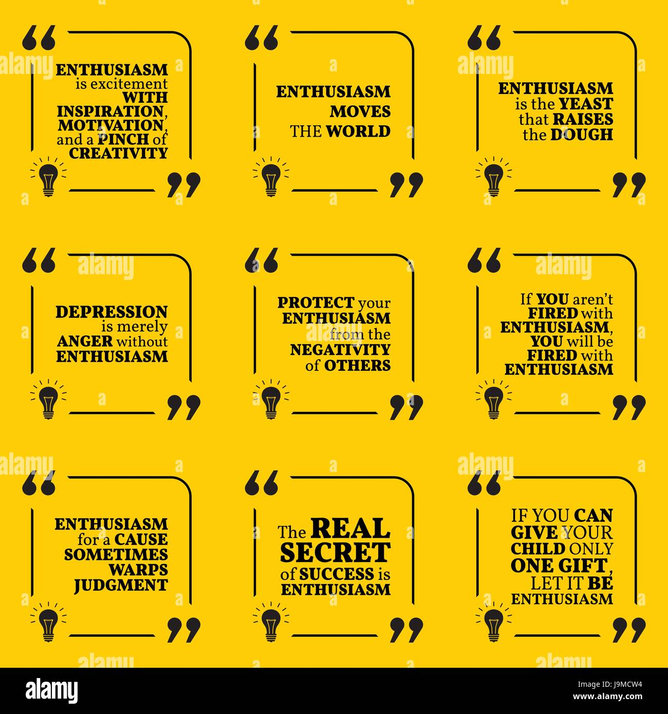 Set Of Motivational Quotes About Enthusiasm Positive Thinking Stock