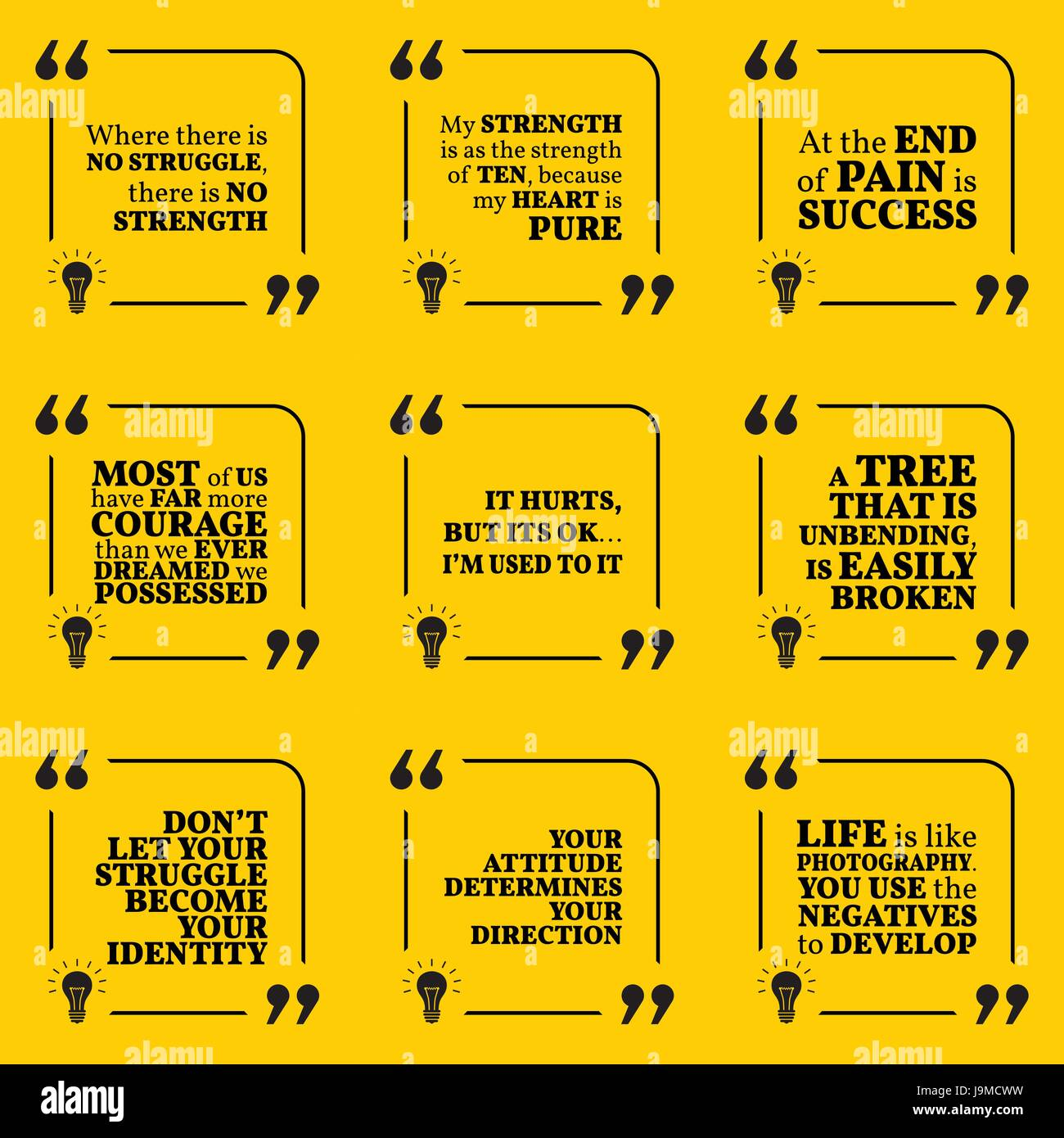 Set Of Motivational Quotes About Struggle Strength Courage Pain