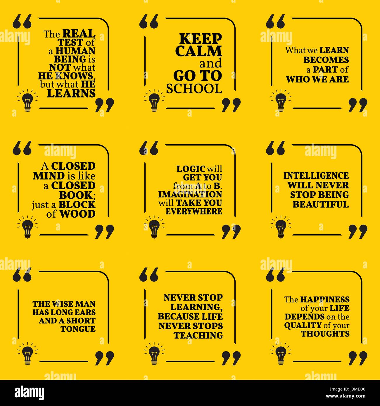 Set Of Motivational Quotes About Learning School Imagination Stock