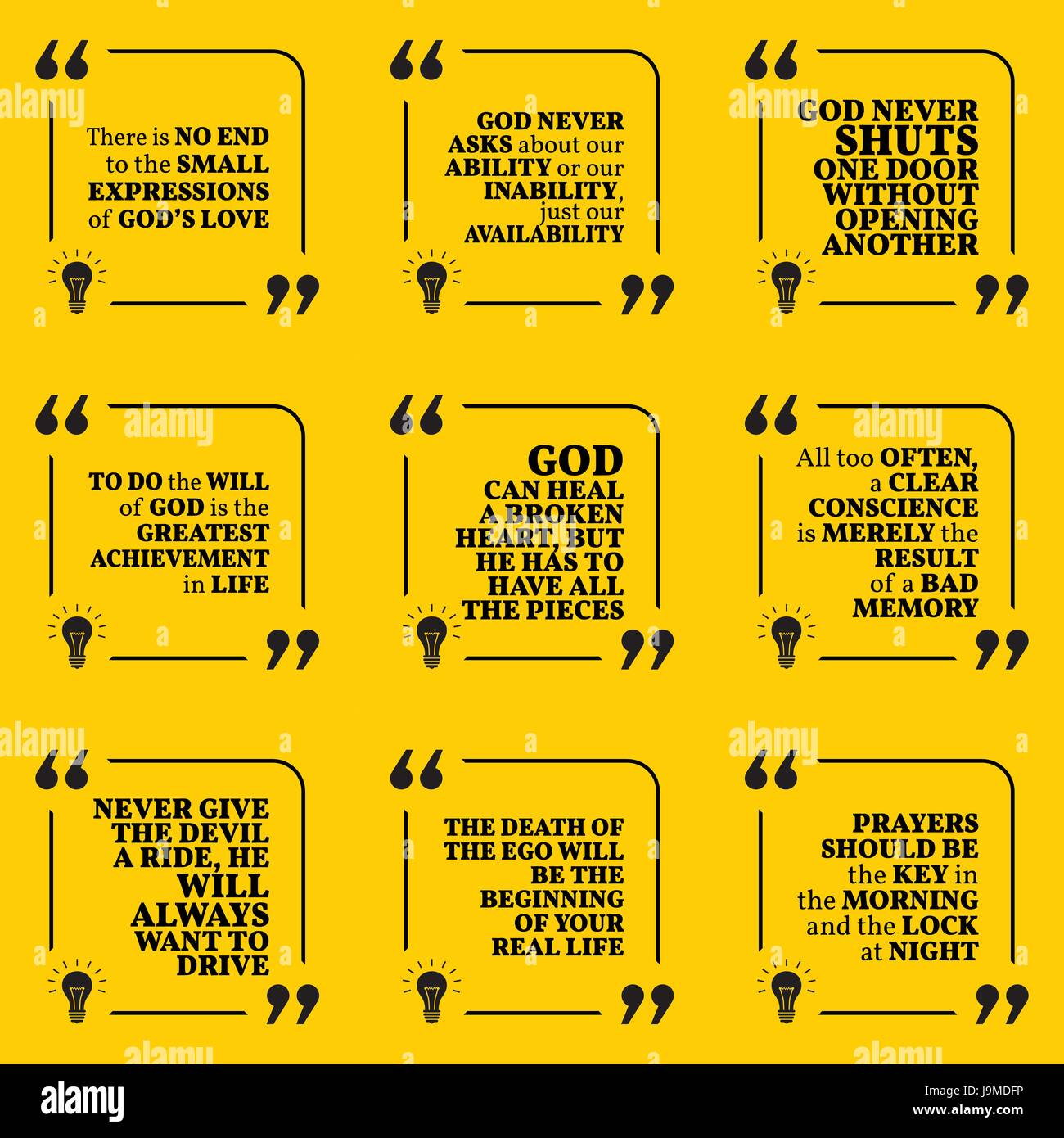 Set Of Motivational Quotes About God, Achievement, Heart, Conscience, Ego,  Devil, Life And Prayers. Simple Note Design Typography Poster. Vector Illus
