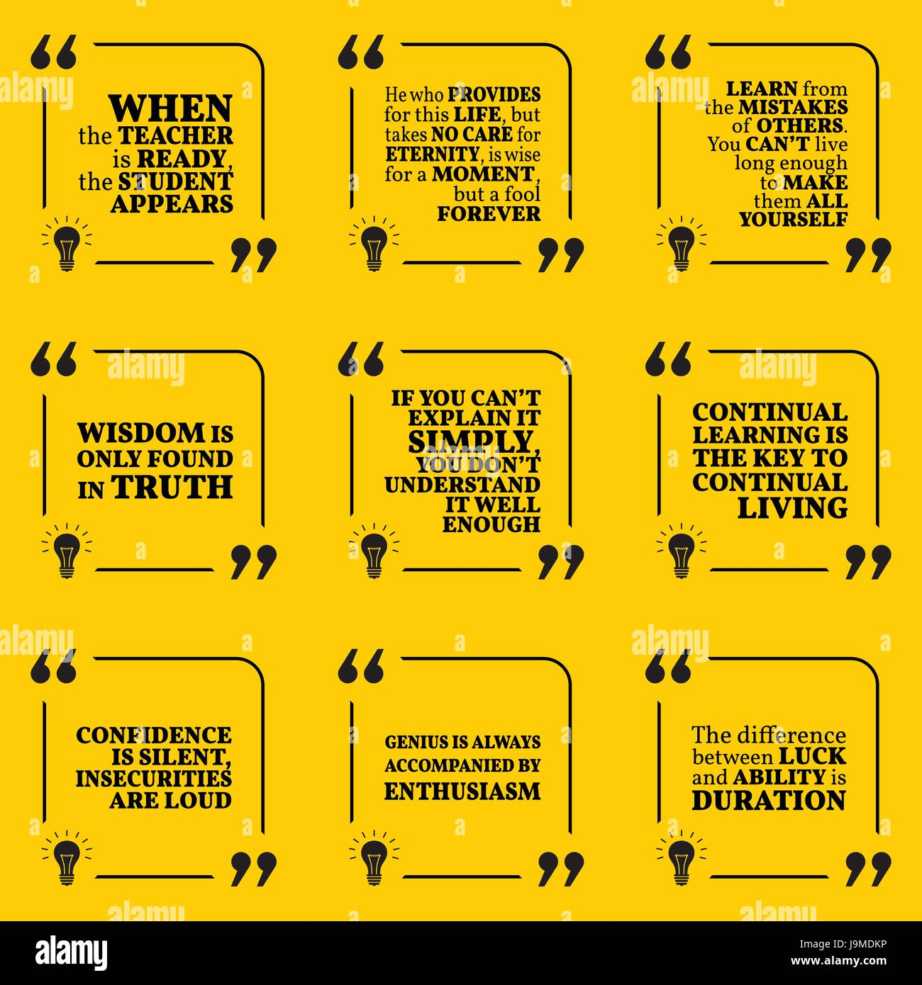 Set Of Motivational Quotes About Learning Mistakes Wisdom Stock