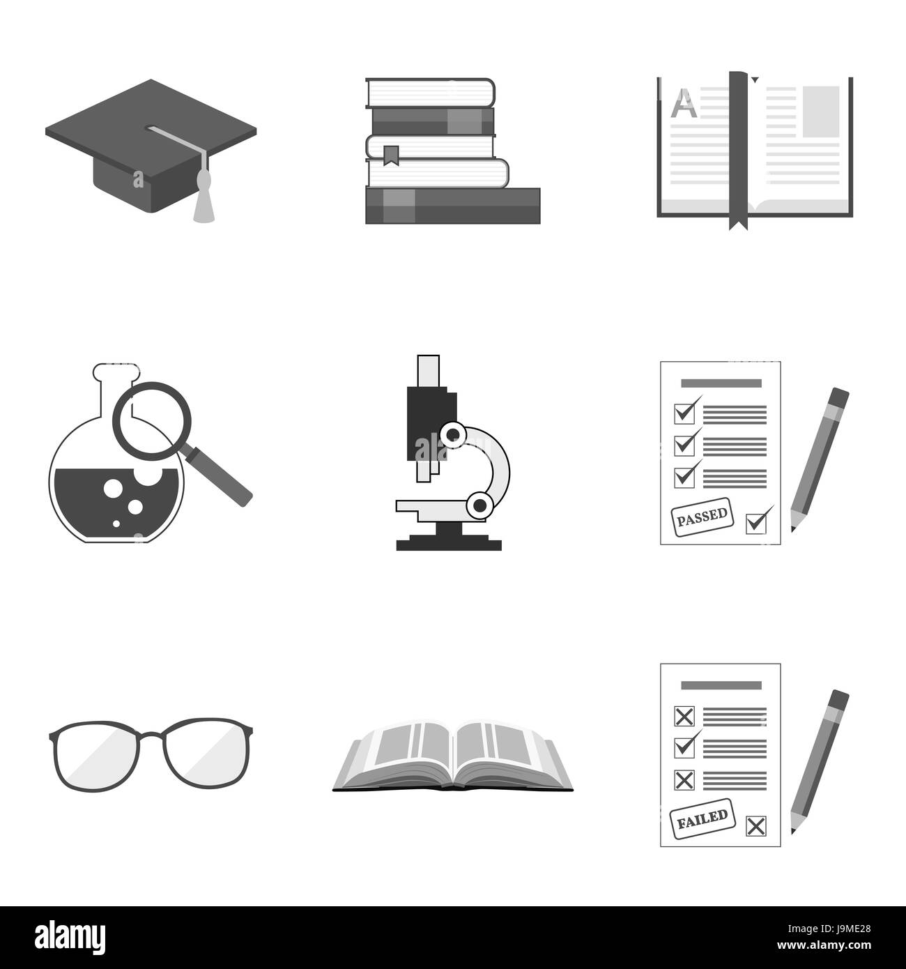Set Of Education Icons And Symbols In Trendy Flat Style Isolated On