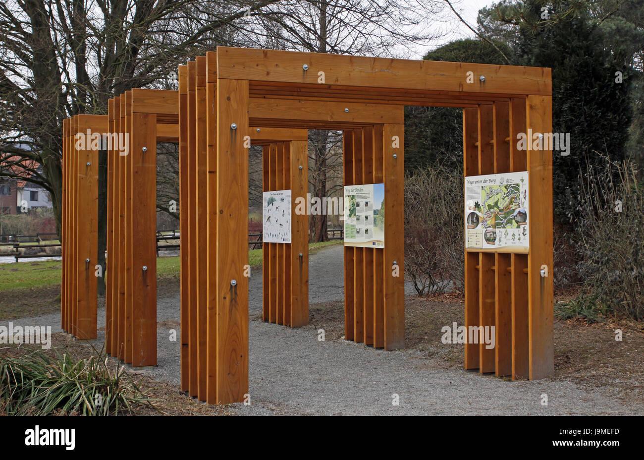 goal, passage, gate, archgway, gantry, spa gardens, boards, goal, passage, Stock Photo