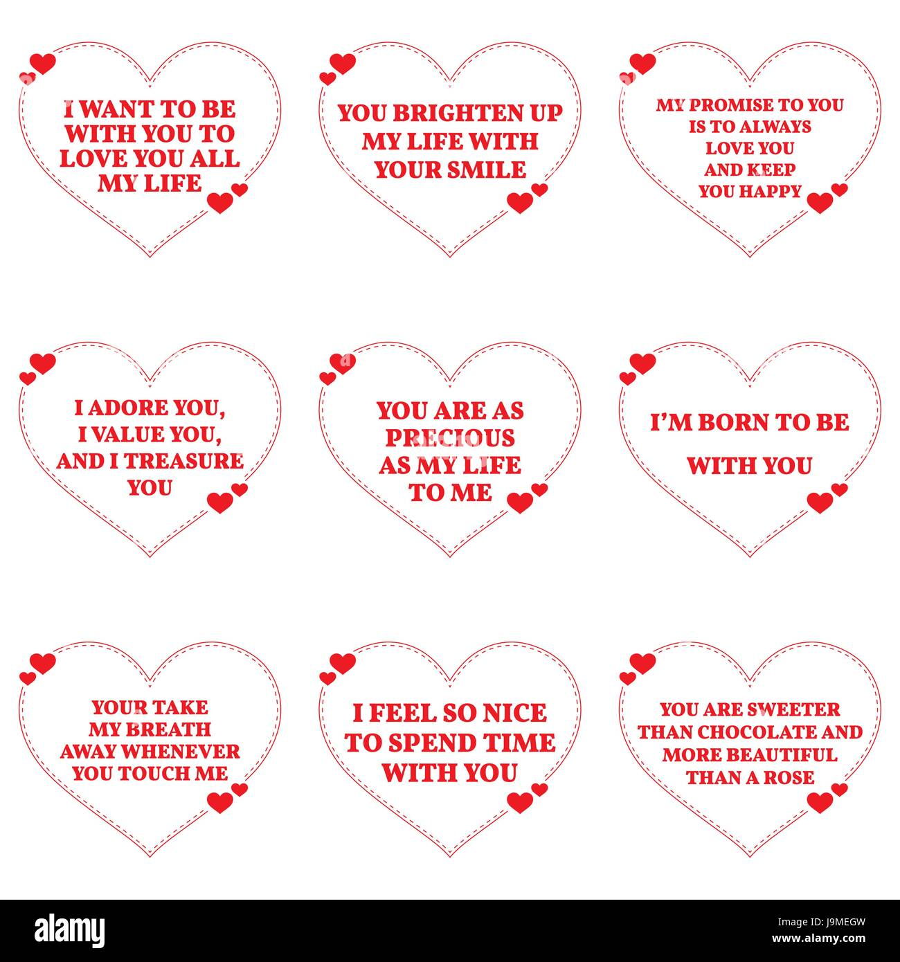 Set Of Love Wishes Quotes Over White Background Simple Heart Shape