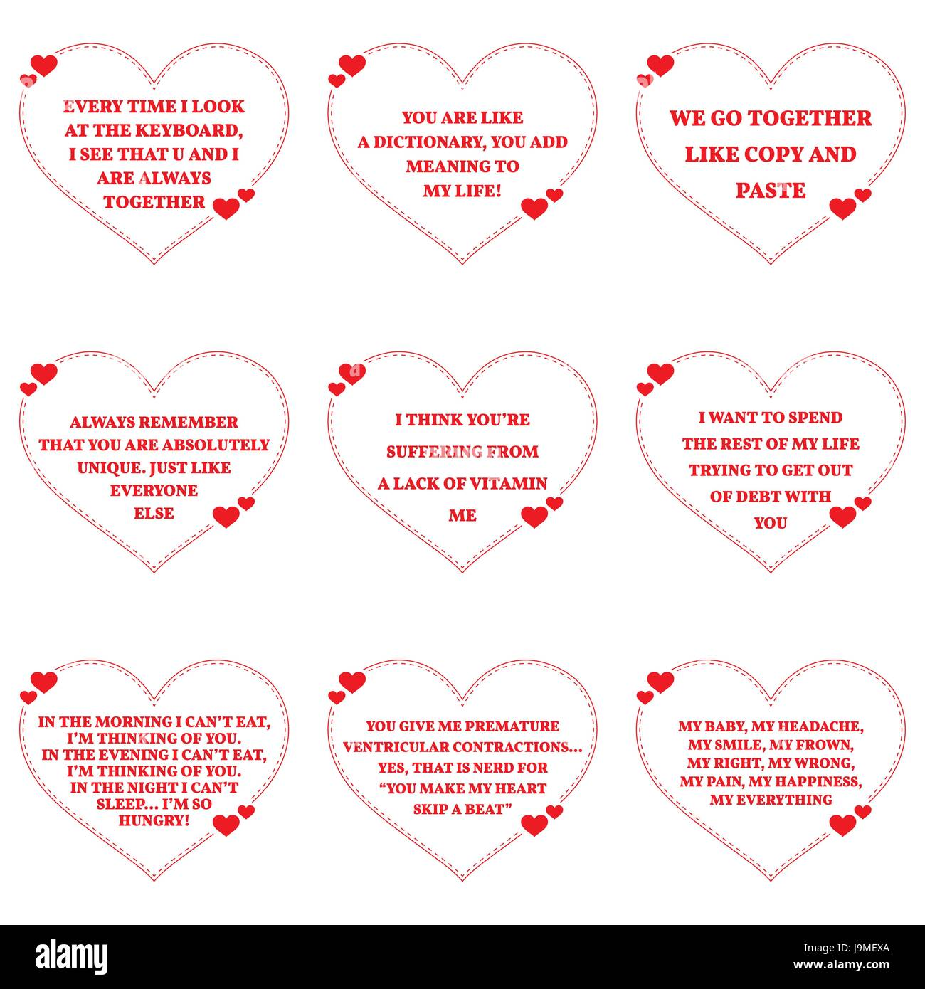Set Of Funny Love Wishes Quotes Over White Background. Simple Heart Shape  Design. Vector Illustration