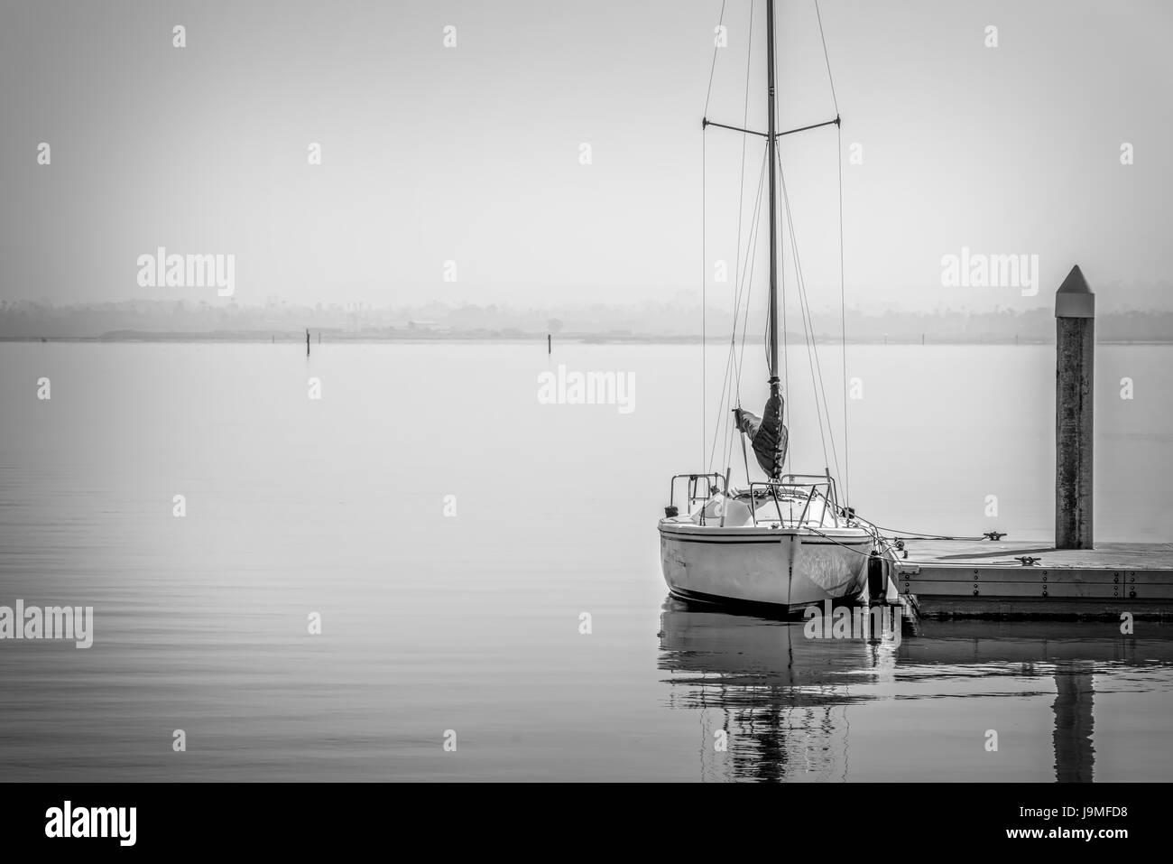 A boat at a southern California dock. - Stock Image