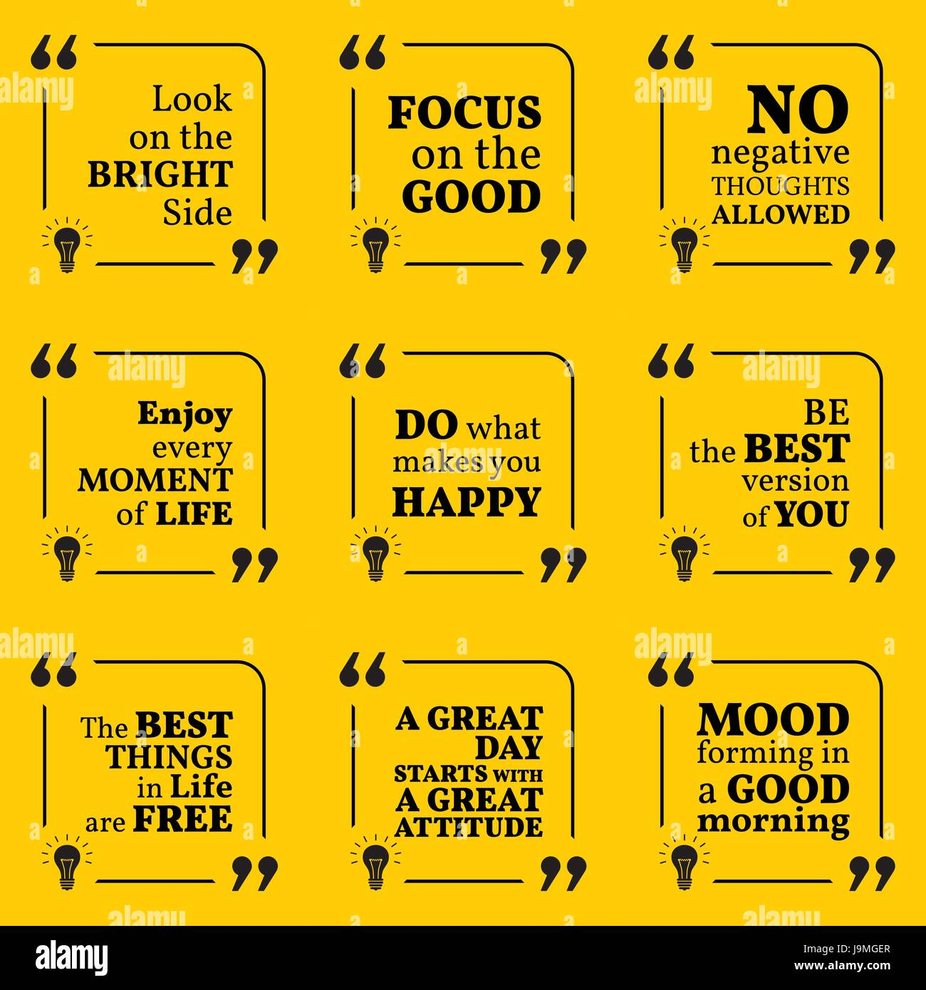 set of motivational quotes about positive thinking optimism happiness and good mood simple note design typography poster vector illustration
