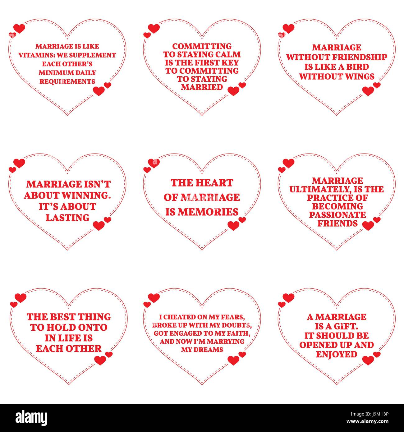 Set of quotes about love and marriage over white background