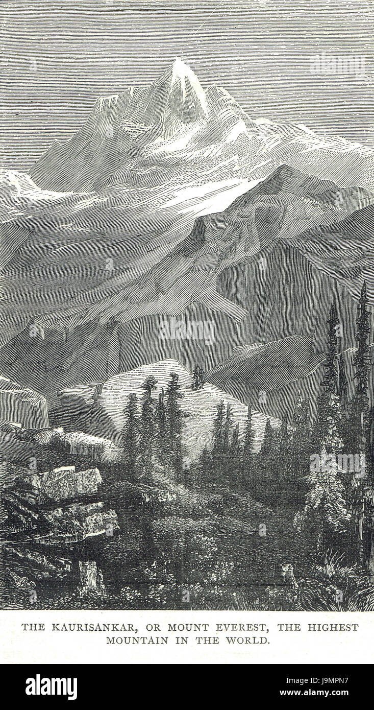 Mount Everest misnamed Kaurisankar in an engraving of 1878 - Stock Image