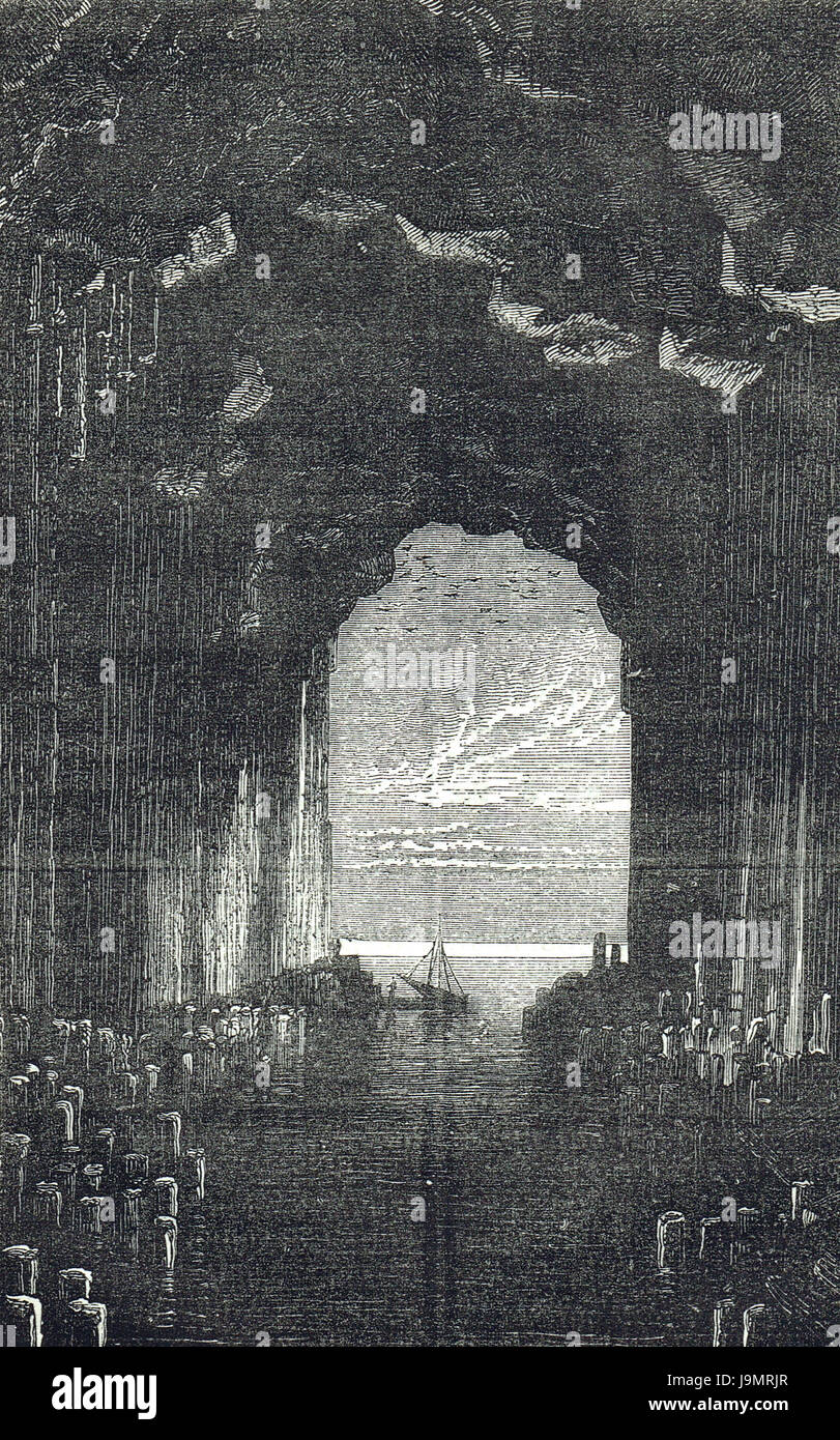 Fingal's Cave 19th Century Engraving - Stock Image