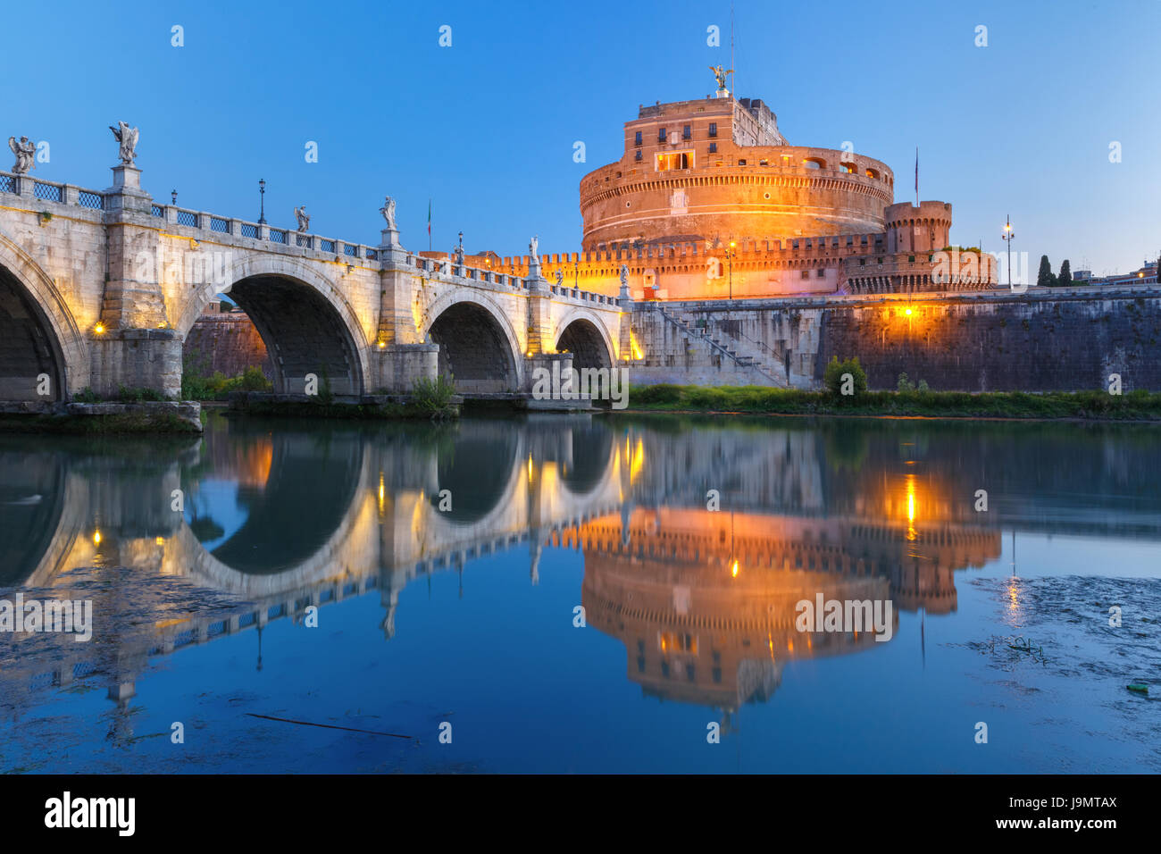 Saint Angel castle and bridge, Rome, Italy - Stock Image