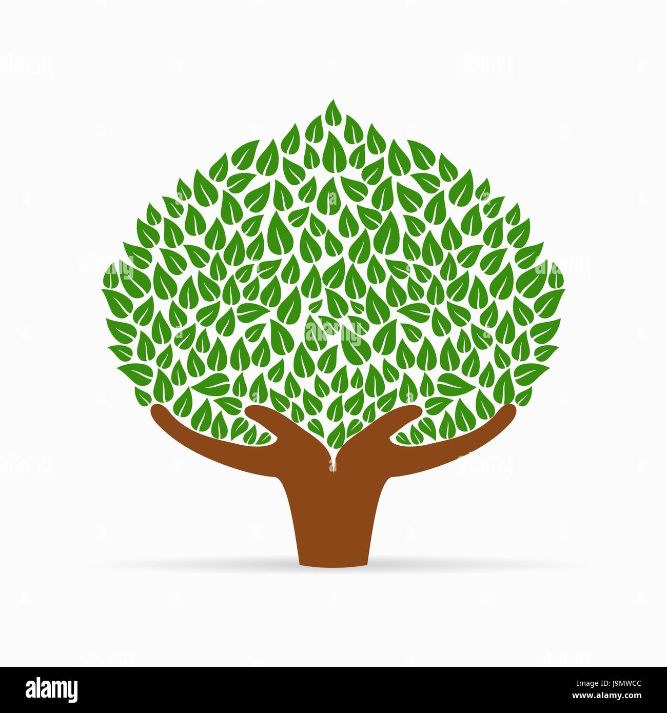Green Tree Symbol With Human Hands Concept Illustration For Stock