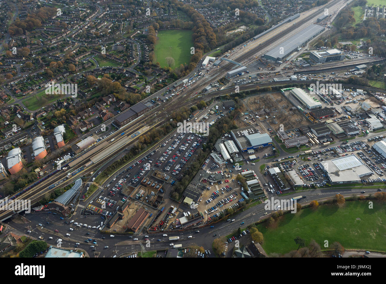 Siemens, Three Bridges Traincare Facility site, Crawley, West Sussex is over 1.4 miles in length and was built by - Stock Image