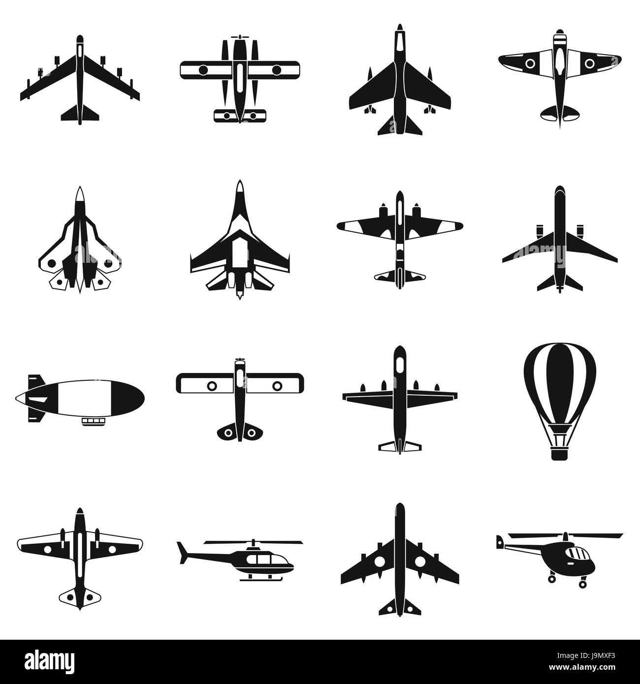 Aviation icons set, simple style - Stock Image