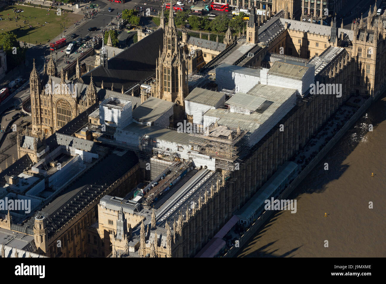 Aerial view of The Palace of Westminster currently covered in scaffolding undergoing repairs. Commonly known as Stock Photo