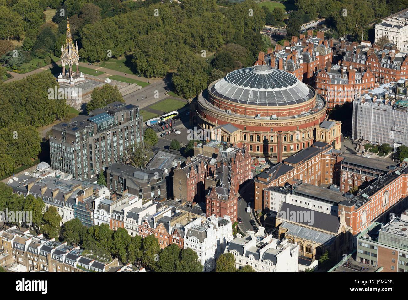 Aerial view of the Royal Albert Hall and Albert memorial, Kensington Gore, Kensington Gardens, London. The concert - Stock Image