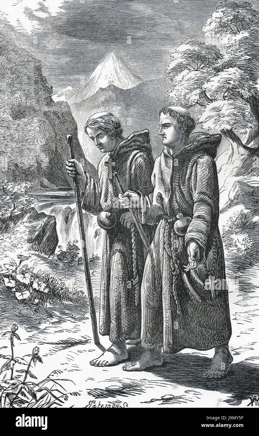 Pope Leo IX accompanied by Hildebrand on his way to Rome dressed as a humble monk in 1049 - Stock Image