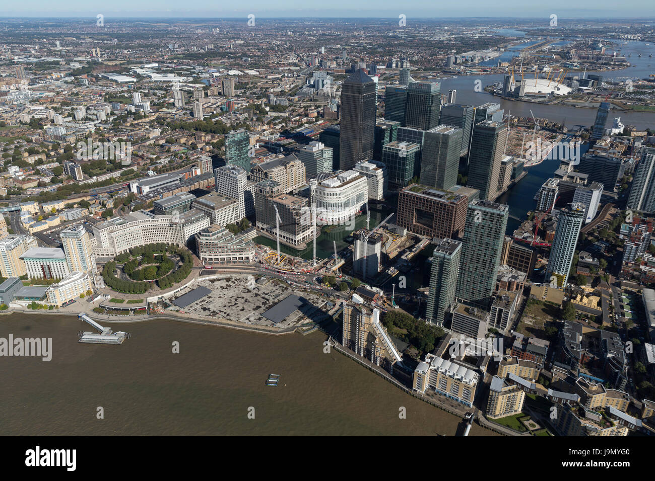 Aerial view of the large commercial buildings at Canary Wharf, Isle of Dogs, Tower Hamlets, East London - Stock Image