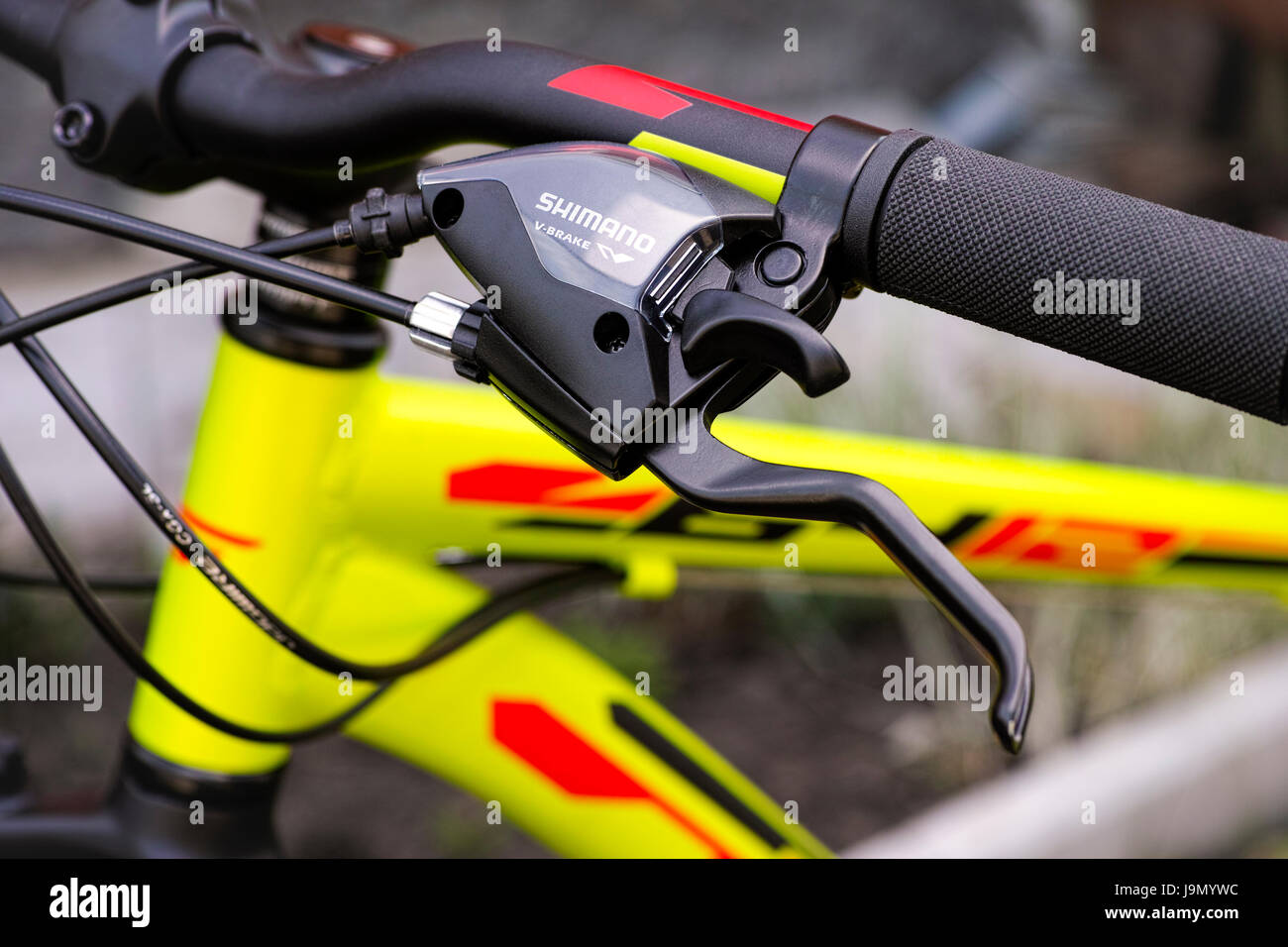Tambov, Russian Federation - May 07, 2017 Close-up of handlebars with Shimano brake lever. - Stock Image