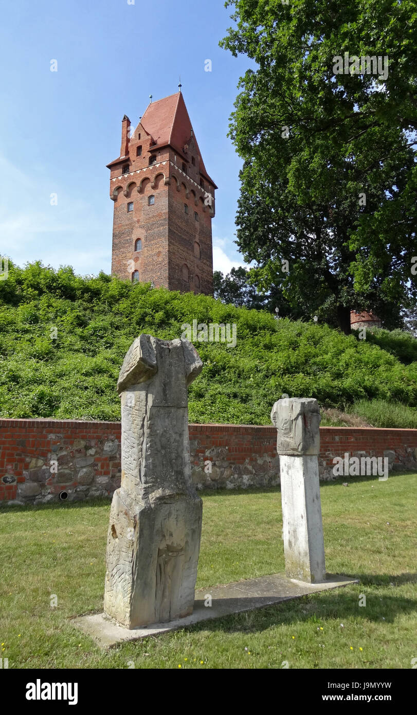tower, elbe, sculptures, blue, tower, tree, trees, shine, shines, bright, Stock Photo