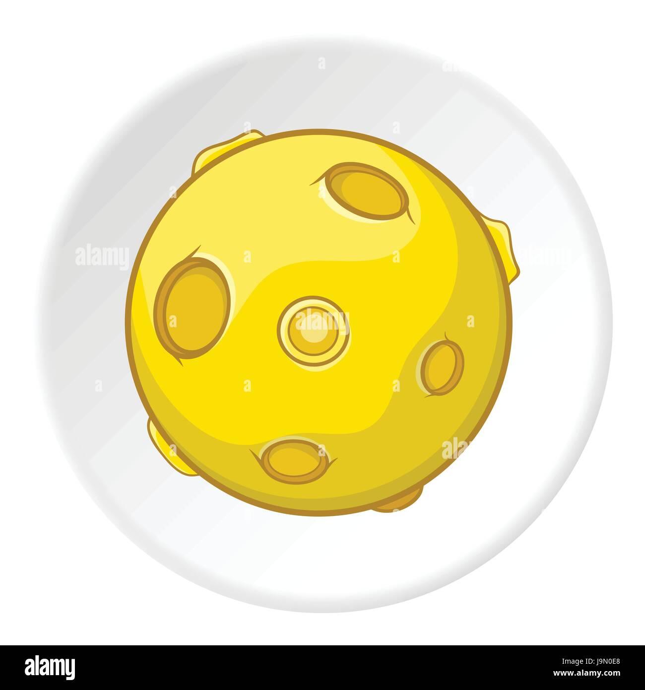 Moon icon, cartoon style - Stock Image