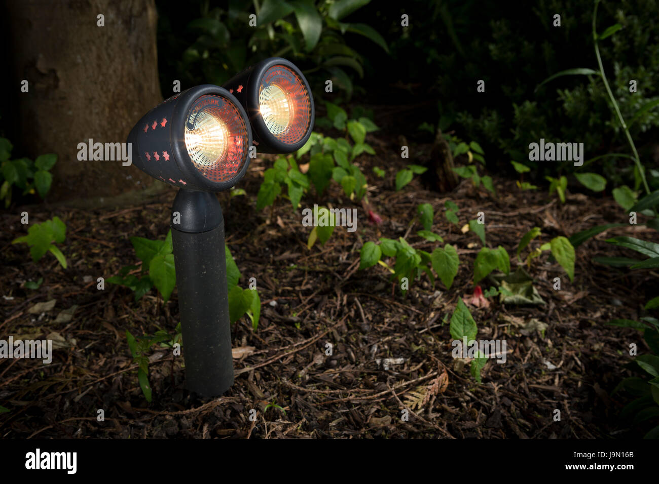 Garden weather proof lighting. Spot lighting that can be installed in your garden to highlight features and ornaments. - Stock Image