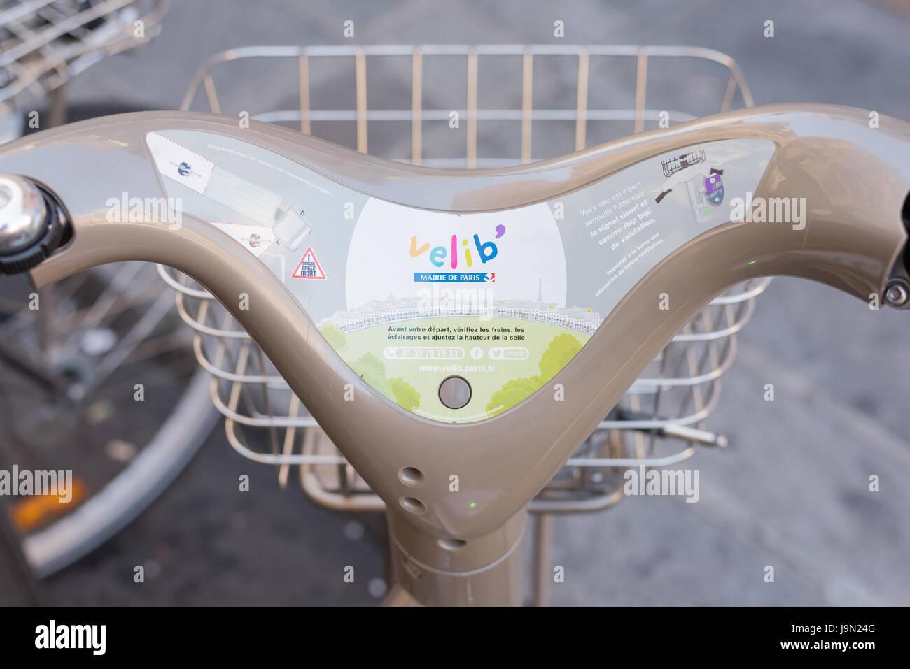 Paris, France May 25, 2017:  Closeup of Paris Vélib handlebars rental bike - Stock Image