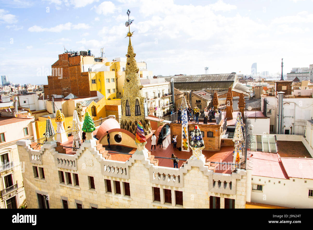 Situated just off Las Ramblas, Palau Guell is a glamorous mansion designed in 1886-1888 by the famous Spanish architect - Stock Image