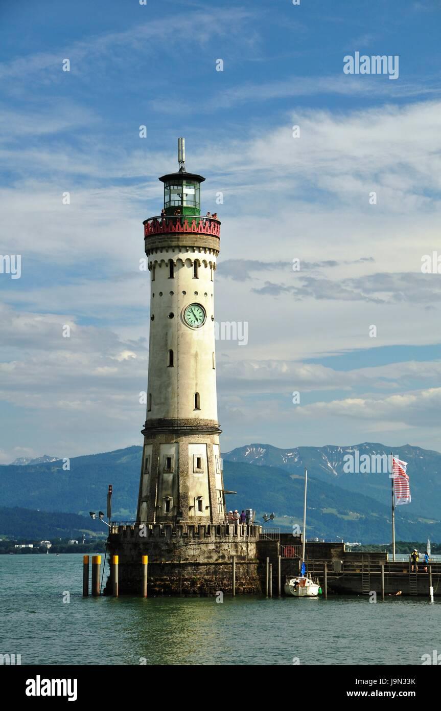 lake constance, port entrance, newer, lighthouse, railway, locomotive, train, Stock Photo