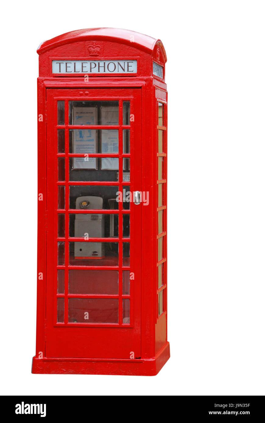 telephone, phone, isolated, booth, british, backdrop, background, white, red, - Stock Image