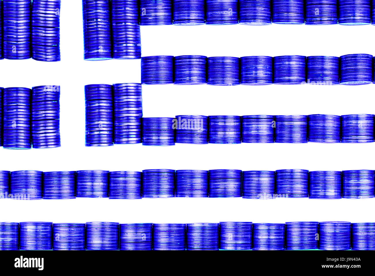greek money flag constructet from stacks of coins - Stock Image