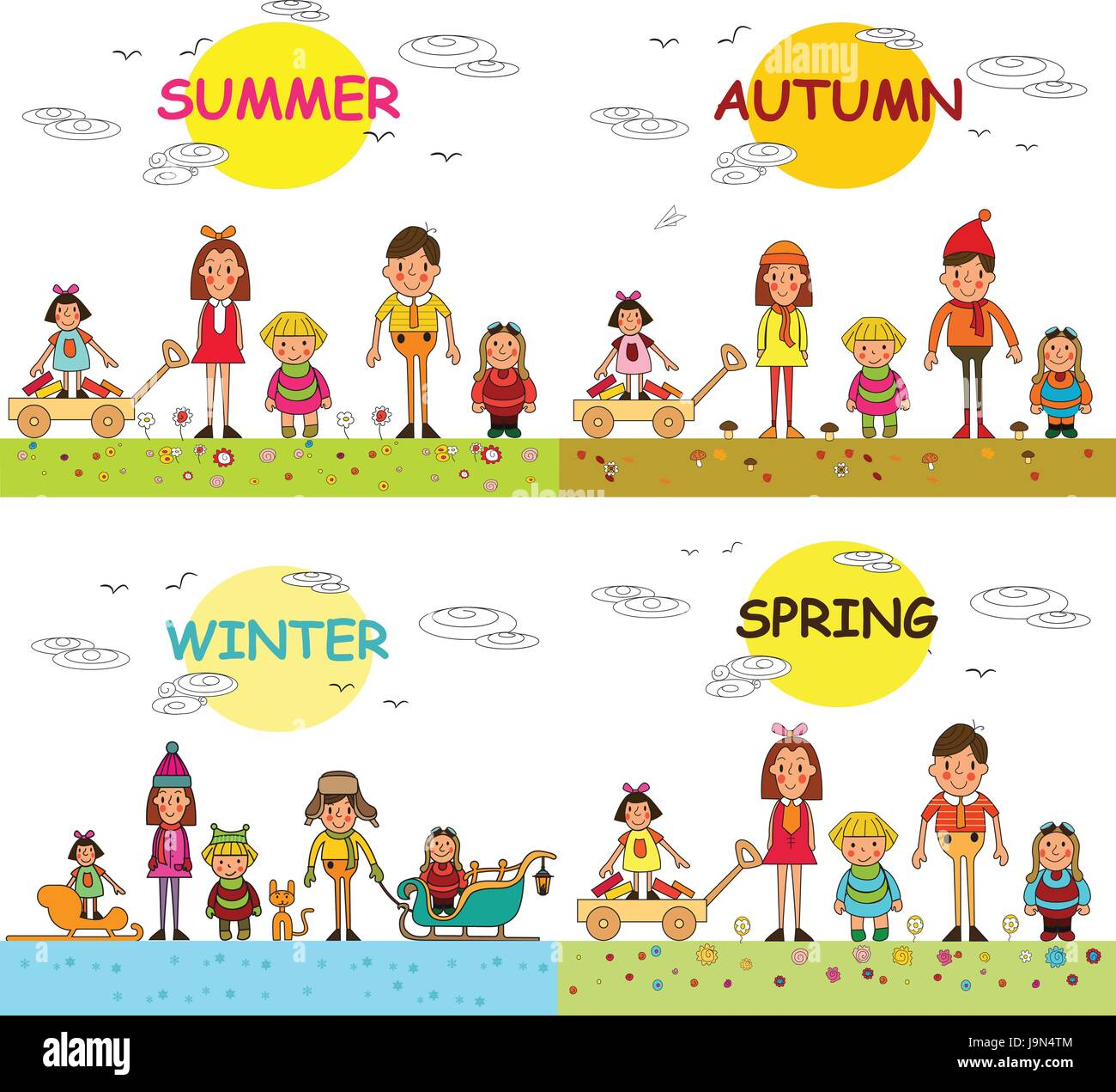 Four seasons - spring, summer, autumn, winter- happy kids isolated on white background. Vector illustration - Stock Image