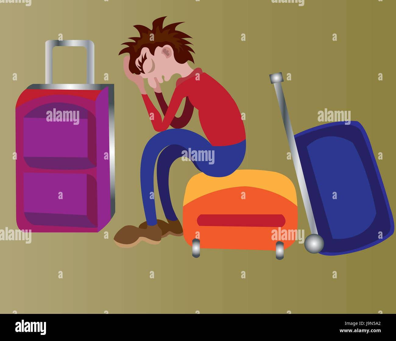 a lone and tired traveller sitting in wait at a subway station - Stock Vector