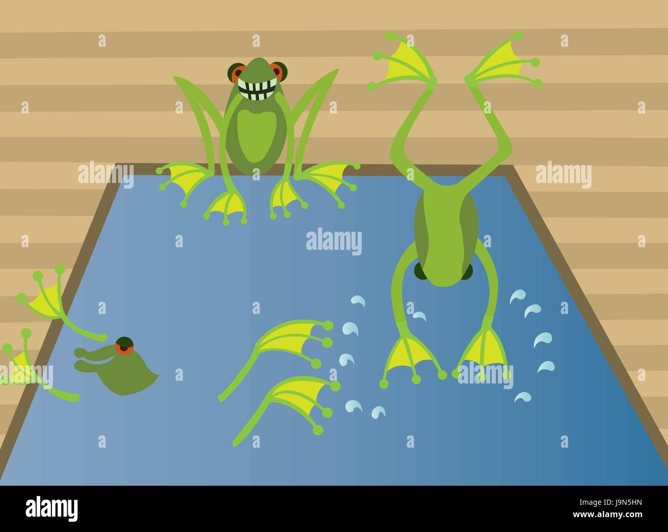 frogs enjoying themselves in a swimming pool - Stock Vector