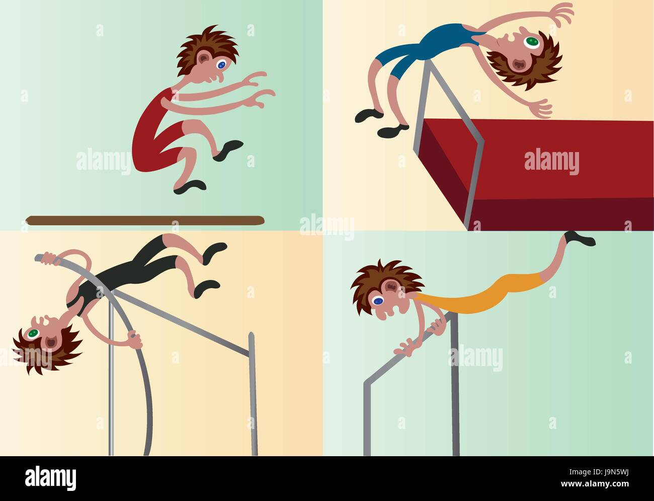 A bunch of athletes competing in different field events - Stock Vector