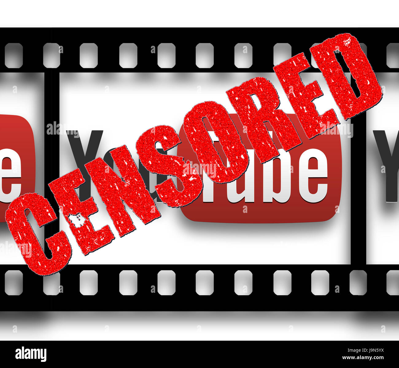 Youtube Logo with the word Censored over it - Stock Image