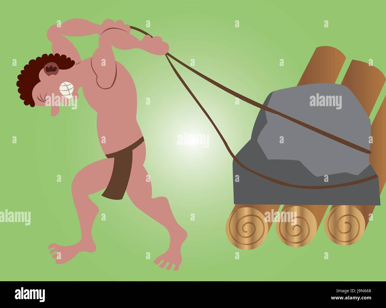 A stone age man pulling  a stone on a roller - Stock Image